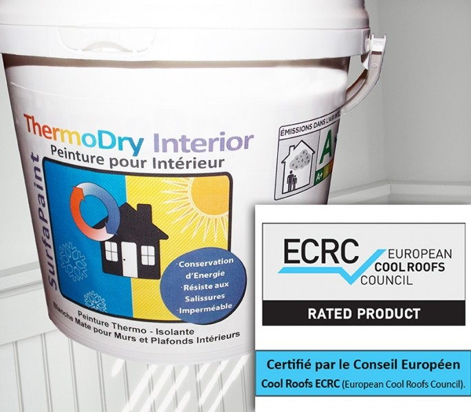 Photo 1 SurfaPaint ThermoDry Interior: Peinture 100% acrylique thermo-isolante. Décoration, protection, confort thermique murs et plafonds intérieurs. Réfléchit plus de 90% du rayonnement thermique (infrarouge). Diminution de la conductivité thermique. Haut pouvoir couvrant, excellente opacité. Peinture écologique à base d'eau, étiquetage A+. Facile d'application: brosse, rouleau ou pistolet - NanoSources