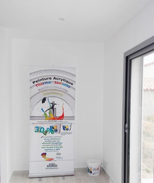 Photo 2 SurfaPaint ThermoDry Interior: Peinture 100% acrylique thermo-isolante. Décoration, protection, confort thermique murs et plafonds intérieurs. Réfléchit plus de 90% du rayonnement thermique (infrarouge). Diminution de la conductivité thermique. Haut pouvoir couvrant, excellente opacité. Peinture écologique à base d'eau, étiquetage A+. Facile d'application: brosse, rouleau ou pistolet - NanoSources