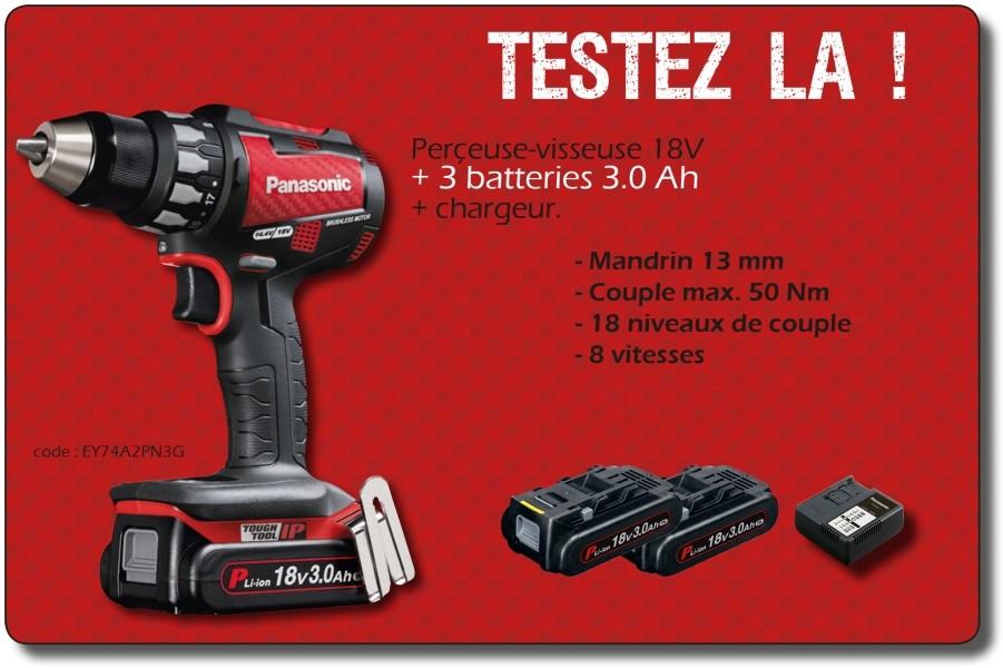 Photo 1 Perçeuse-visseuse PANASONIC 18 V + 3 batterie 3.0 Ah + chargeur. Edition spéciale. Mandrin auto-serrant de 13 mm. Couple max. 50 Nm avec 18 niveaux de couple différents. Gâchette progressive 8 vitesses. - ALSAFIX