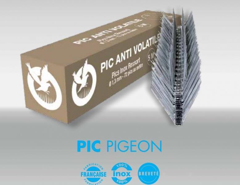 Photo 1 Le pic pigeon est un dispositif anti volatiles composé d'une semelle et de pics en Inox. Il ne rouille pas & résiste aux UV. Il est doté d'une barrette de 50 cm sectionnable sans outils et empilable pour faciliter le stockage (pics : 10 cm-Ø1,3 mm) La fixation se fait par collage, vissage, ou clipsage sur tous types de gouttière avec la référence « Oisiclip » Protection : 12 à 16 cm / 72 pointes au ml Pics : Inox ressort AISI 302, Norme Afnor X10 CrNi 18-8 - FIRSTPLAST