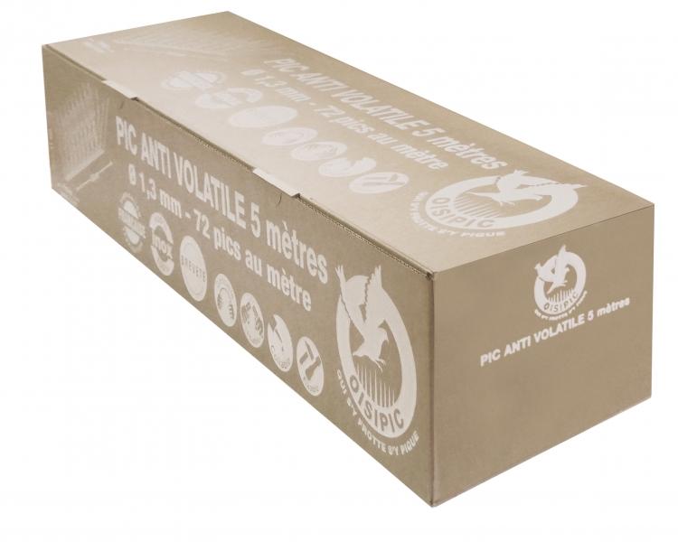 Photo 2 Le pic pigeon est un dispositif anti volatiles composé d'une semelle et de pics en Inox. Il ne rouille pas & résiste aux UV. Il est doté d'une barrette de 50 cm sectionnable sans outils et empilable pour faciliter le stockage (pics : 10 cm-Ø1,3 mm) La fixation se fait par collage, vissage, ou clipsage sur tous types de gouttière avec la référence « Oisiclip » Protection : 12 à 16 cm / 72 pointes au ml Pics : Inox ressort AISI 302, Norme Afnor X10 CrNi 18-8 - FIRSTPLAST