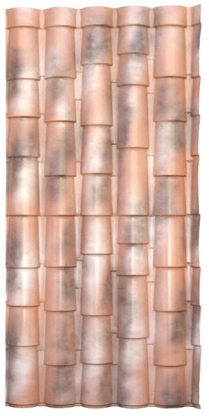 Photo 4 Les plaques COVER-LIFE résistent parfaitement aux variation de température de-30° à +70%C, au feu & aux choc Grace aux matières premières utilisées à la production la plaque a une conductibilité thermique très basse et offre une capacité d'isolation acoustique optimale Semi flexibles & garanties 15 ans (voir conditions) Longueur 2,13m ; 2,16 m2 ; 9,72 Kg  Références couleurs :  RU021TNR Terre naturelle  RU021ANF Florence antique  RU021ANV Venise antique  RU021ANS Sienne antique - FIRSTPLAST