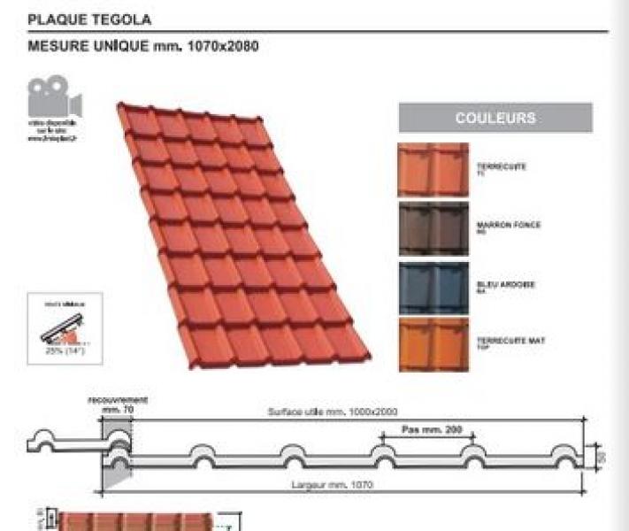 Photo 1 Les plaques COVER-LIFE résistent parfaitement aux variation de température de-30° à +70%C, au feu & aux choc Grace aux matières premières utilisées à la production la plaque a une conductibilité thermique très basse et offre une capacité d'isolation acoustique optimale Semi flexibles & garanties 15 ans (voir conditions) Longueur 2,08m ; 2,23 m2 ; 10,68 Kg  Références couleurs :  TE021TC Terre cuite  TE021MS Marron foncé  TE021BA  Bleu ardoise  TE021TOP  Terre cuite Mat - FIRSTPLAST