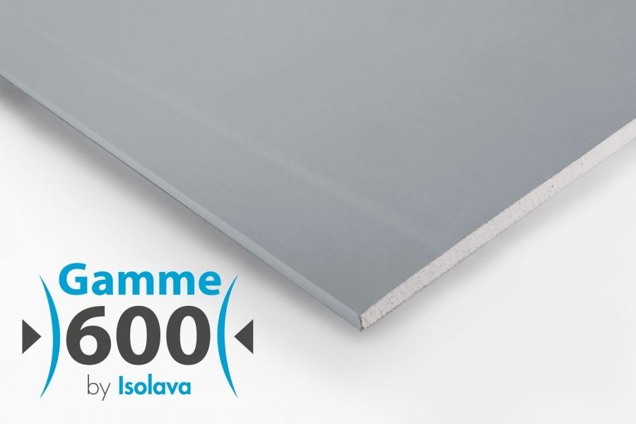 Photo 1 Plaque de plâtre à bords amincis cartonnée dotée à coeur d'une structure cristalline de gypse amortissante de haute densité. - ISOLAVA FRANCE