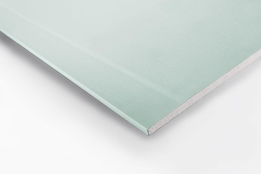 Photo 1 Plaque de plâtre à bords amincis résistante à l'humidité, à âme et parement cartonnés hydrofugés. Elle est utilisée en cloisons, contre-cloisons, doublages et plafonds dans les locaux exposés à l'humidité. - ISOLAVA FRANCE