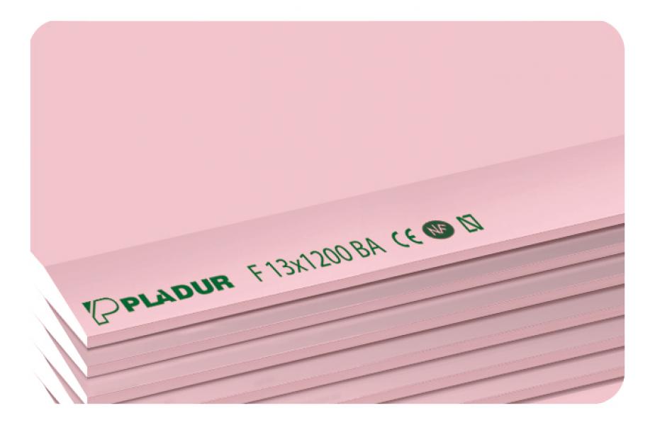 Photo 1 La plaque PLADUR® F est constituée d'une âme en plâtre renforcée de fibres de verre qui améliorent sa résistance mécanique en cas d'incendie et de parements cartonnés roses (face) et gris (dos). La plaque de plâtre PLADUR® F convient aux ouvrages définis par le DTU 25.41 et par le DTA 9-15-1008 (Cloisons séparatives PLADUR® Métal SA 1200 et PLADUR® Métal SD 1200). Elle est utilisée lorsque nos PV de résistance au feu le prévoient (exemple : cloison EI 120 suivant PV 13J1047…). - Pladur