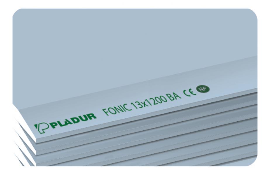 Photo 1 Plaque de plâtre constituée d'une âme de plâtre 100 % naturel spécialement traité pour améliorer ses performances d'isolation acoustique. Les parements sont de couleur bleue (face) et grise (dos).La plaque de plâtre PLADUR® FONIC convient aux ouvrages définis par le DTU 25.41 et par le DTA 9-15-1008 (Cloisons séparatives PLADUR® Métal SA 1200 et PLADUR® Métal SD 1200) lorsqu'une isolation acoustique améliorée est recherchée. - Pladur