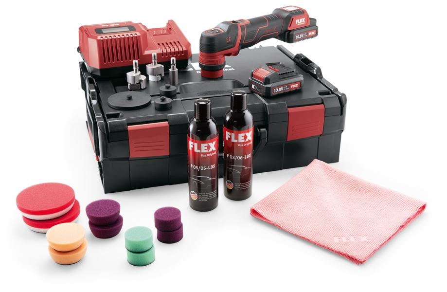 Photo 1 Polisseuse sur batterie, rotative et excentrique à rotation libre PXE 80 10.8-EC/2.5 P-Set - FLEX FEMA SAS
