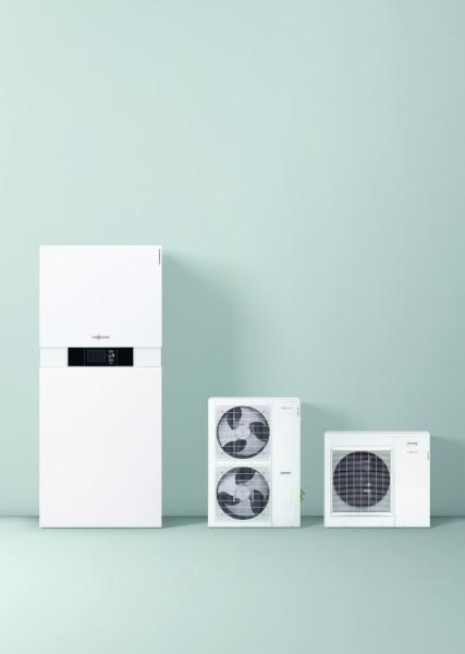 Photo 1 La Vitocaldens 222-F est une PAC hybride compacte gaz ! C'est un système énergétique complet et peu encombrant composé d'une pompe à chaleur, d'une chaudière gaz à condensation et d'un réservoir d'ECS de 130 litres qui garantit une quantité d'eau chaude confortable. Elle a les modes de fonctionnement : Economie, Ecologie ou Confort, Son gestionnaire d'énergie détermine automatiquement le générateur de chaleur prioritaire. De plus, elle peut être raccordée à une installation photovoltaïque. - Viessmann France