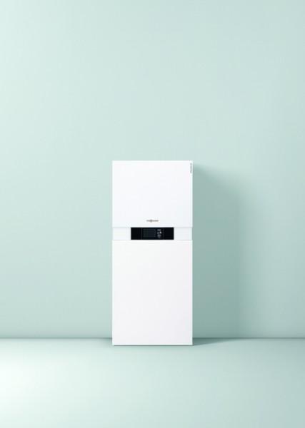 Photo 2 La Vitocaldens 222-F est une PAC hybride compacte gaz ! C'est un système énergétique complet et peu encombrant composé d'une pompe à chaleur, d'une chaudière gaz à condensation et d'un réservoir d'ECS de 130 litres qui garantit une quantité d'eau chaude confortable. Elle a les modes de fonctionnement : Economie, Ecologie ou Confort, Son gestionnaire d'énergie détermine automatiquement le générateur de chaleur prioritaire. De plus, elle peut être raccordée à une installation photovoltaïque. - Viessmann France