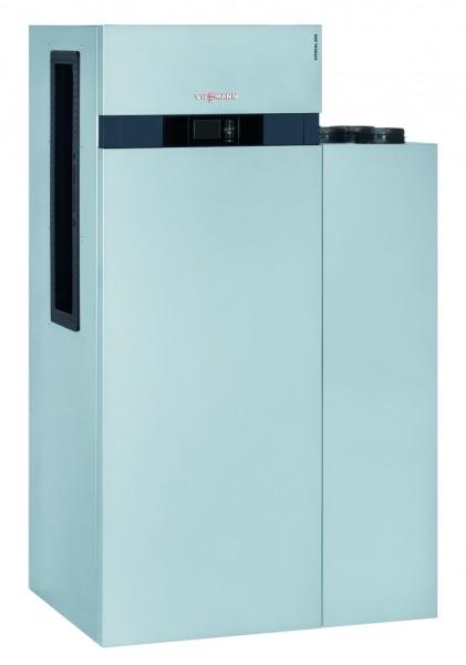 Photo 1 Performance, design et discrétion caractérisent parfaitement la nouvelle génération de Vitocal 200-A qui s'intègre parfaitement aux bâtiments résidentiels existants. Elle dispose d'une unité intérieure et d'une unité extérieure reliées entre elles par une conduite de raccordement en eau. Elle existe en version chauffage seul ou chauffage et rafraîchissement. Les unités extérieures sont 100 % conçus et fabriqués par Viessmann. Elle a un COP jusqu'à 5.0 à A7/W35 et un EtaS entre 126 et 134 à 55°C - Viessmann France