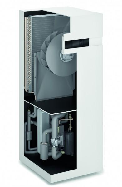Photo 2 Performance, design et discrétion caractérisent parfaitement la nouvelle génération de Vitocal 200-A qui s'intègre parfaitement aux bâtiments résidentiels existants. Elle dispose d'une unité intérieure et d'une unité extérieure reliées entre elles par une conduite de raccordement en eau. Elle existe en version chauffage seul ou chauffage et rafraîchissement. Les unités extérieures sont 100 % conçus et fabriqués par Viessmann. Elle a un COP jusqu'à 5.0 à A7/W35 et un EtaS entre 126 et 134 à 55°C - Viessmann France