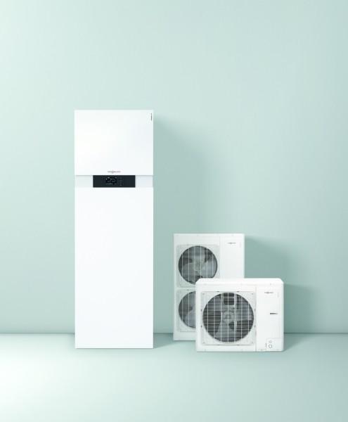 Photo 1 La pompe à chaleur Vitocal 111-S est une solution à prix attrayant offrant qualité de fabrication et efficacité de premier ordre qui font la réputation de Viessmann. Avec ses dimensions compactes, seulement 600 mm de large et 1900 mm de haut, l'unité intérieure peut être installée aussi bien dans la buanderie que dans le garage d'une maison individuelle.  Elle existe aussi bien en 230 V qu'en 400 V pour la production de chauffage et d'eau chaude sanitaire thermodynamique. - Viessmann France