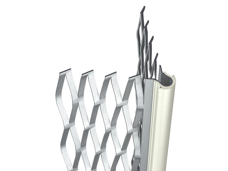 Photo 1 Profilé en acier galvanisé déployé avec jonc blanc, pierre, gris ou noir. Profilé de finition d'angle extérieur pour enduit de façade pour régler l'aplomb des angles sortants de maçonnerie pour enduit de 12 mm à 19 mm. - PAI