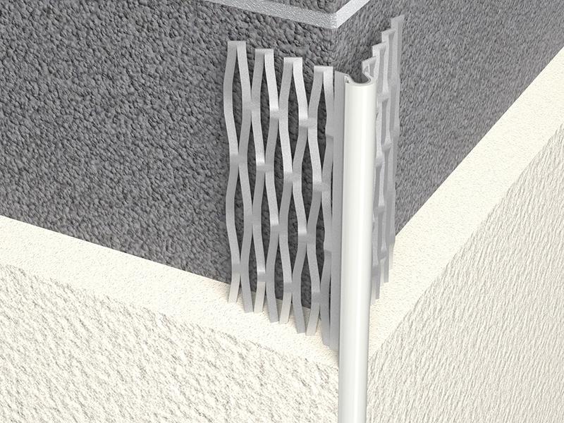 Photo 2 Profilé en acier galvanisé déployé avec jonc blanc, pierre, gris ou noir. Profilé de finition d'angle extérieur pour enduit de façade pour régler l'aplomb des angles sortants de maçonnerie pour enduit de 12 mm à 19 mm. - PAI
