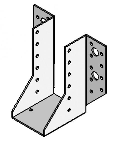 Photo 1 Carton de 50 sabots à ailes extérieures de 76 x 752 sur 2 mm d'épaisseur. Galva 20 µm. Agrées par les organismes de contrôle technique du bâtiment (ATE), ils remplacent efficacement les assemblages traditionnels à tenons et mortaise. - ALSAFIX