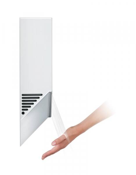 Photo 2 Le plus hygiénique des sèche-mains, désormais 35 % plus silencieux. Avec une épaisseur de seulement 10 cm, le sèche-mains Dyson Airblade V occupe très peu de place dans les sanitaires. Séchage en 12 secondes. Profil peu épais : dépasse du mur de juste 10 cm aucun encastrement nécessaire. Fonctionnement sans contact. Le filtre HEPA capture 99,9 % des particules de la taille d'une bactérie. 5 ans de garantie. - DYSON