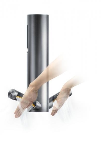 Photo 2 Le sèche-mains à filtre HEPA le plus efficace et économique Faible consommation : seulement 9kJ par séchage (mode eco). Un filtre HEPA capture 99,9% des particules de la taille d'une bactérie. Technologie d'arrêt rapide. Détecte les mains en 0,2 sec. Technologie Curved Blade™ qui épouse la forme des mains. Format compact. Pas d'encastrement nécessaire. Faible empreinte carbone : 2,5g de CO2/séchage (mode Eco) 5 ans de garantie - DYSON