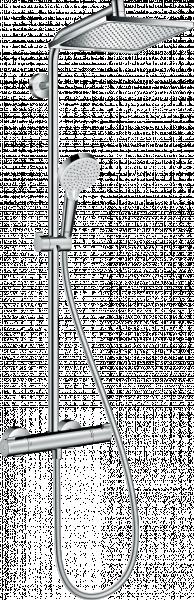 Photo 1 - douche de tête Crometta E 240 orientable 240x240mm - jet Rain - débit jet Rain: 16l/min - disque de jet chromé - bras douche: 350mm - butée confort 40°C - limiteur d'eau chaude réglable - entraxe 150mm ± 12mm - HANSGROHE