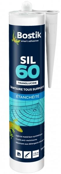 Photo 1 Mastic silicone neutre traité anti-moisissures, spécialement destiné à la réalisation de joints d'étanchéité sur supports synthétiques.Coloris : Blanc, Translucide et Gris - Bostik