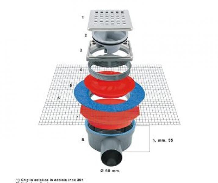 Photo 2 Siphon en ABS avec grille en inox et filet pour gaine d'étanchéité liquide Grille inox 304 avec un système anti odeur  Cadre Inox et Bride ficelée pour hauteur réglable Réseau pour matériel isolant liquide Membrane support étanchéité  Chappe couvercle de protection Silhouette en ABS sortie latérale Ø 50. Sortie horizontal 360° - FIRSTPLAST
