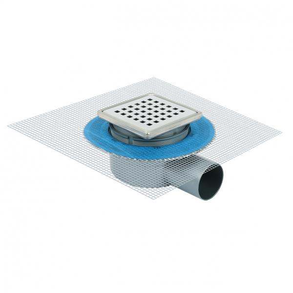 Photo 1 Siphon en ABS avec grille en inox et filet pour gaine d'étanchéité liquide Grille inox 304 avec un système anti odeur  Cadre Inox et Bride ficelée pour hauteur réglable Réseau pour matériel isolant liquide Membrane support étanchéité  Chappe couvercle de protection Silhouette en ABS sortie latérale Ø 50. Sortie horizontal 360° - FIRSTPLAST