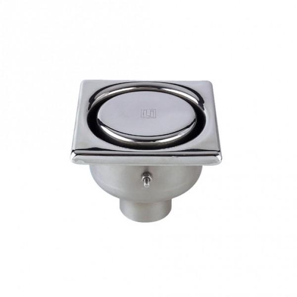 Photo 1 Siphon en acier inox EN 1.4301 100 x 100 mm avec prise de terre, hauteur 53 mm, sortie verticale diamètre 40 mm, écoulement 0.26 l/s env., garde d'eau 30 mm, cloche- rosette inviolable résistant à une charge de 2 kN sur une surface de diamètre 30. La partie visible est électropolie. Livré avec clé en PVC. - LIMATEC