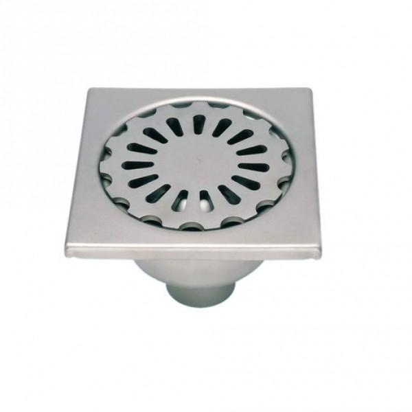 Photo 1 Siphon en acier inox EN 1.4301 200 x 200 mm, hauteur 95 mm, sortie verticale diamètre 63 mm, écoulement 0.75 l/s env., garde d'eau 50 mm, rosette libre résistant à une charge concentrée (40 x 10) de 11 kN - LIMATEC