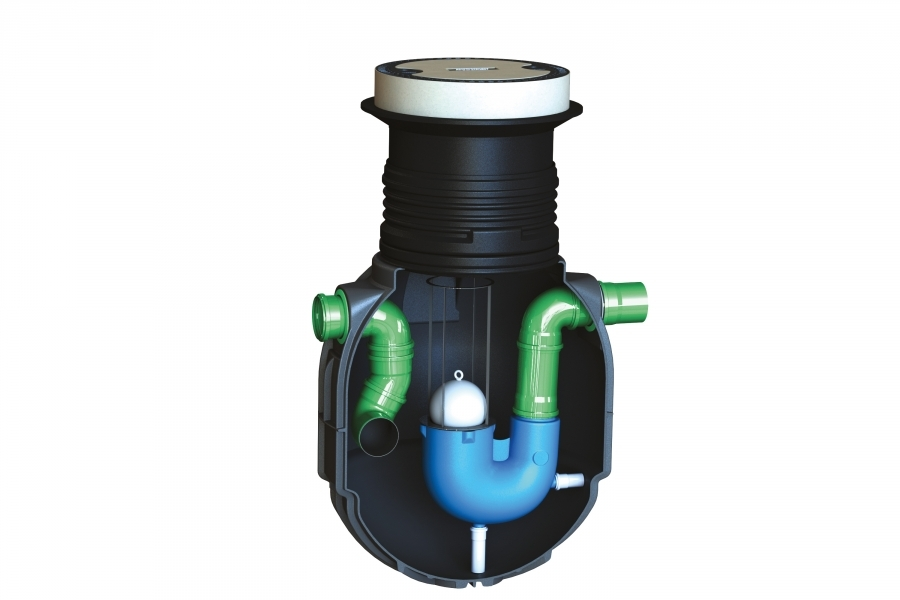 Photo 1 Fonctionne de manière naturelle grâce à la différence de densité des liquides. Les matières solides lourdes vont décanter dans le débourbeur inclus dans le séparateur. Les polluants ayant une densité plus faible que l'eau, comme les hydrocarbures ou les huiles minérales, surnagent à la surface de l'eau. Les eaux assainies se dirigent alors vers la canalisation de sortie. Ce dispositif ne concerne pas les eaux vannes qui doivent rejoindre directement la station d'épuration. Garantie 20 ans. - GRAF