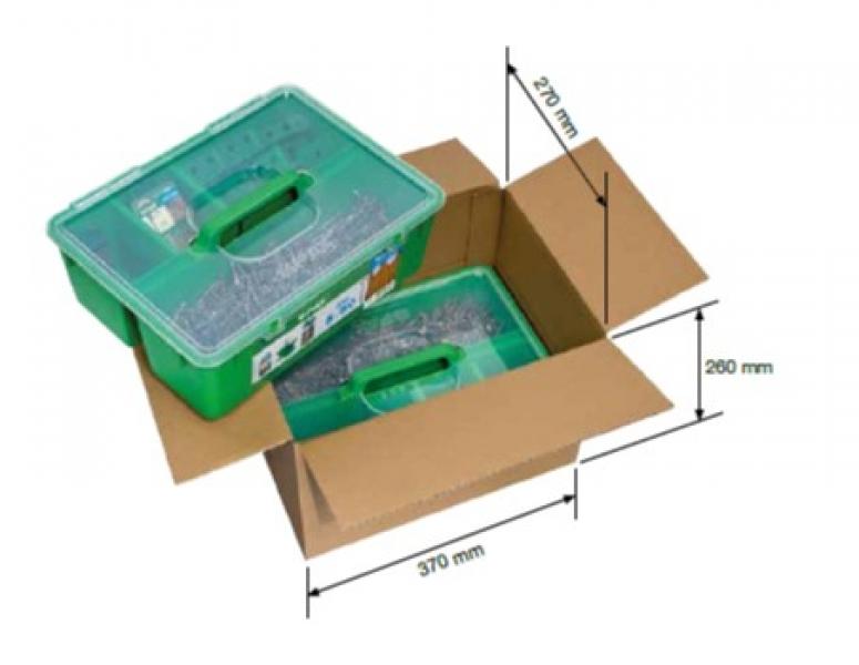 Photo 4 Cette GREEN Box est un kit de fixation pour terrasse en bois exotique. Son application est prévue bois sur bois. Il contient : - 850 vis SPAX Tête cylindrique 5x50 T Star+ en acier inoxydable A2 - 12 SPAX espaceurs - 5 SPAX embouts T-Star+ T25 - 1 foret étagé SPAX drill 2 step - SPAX