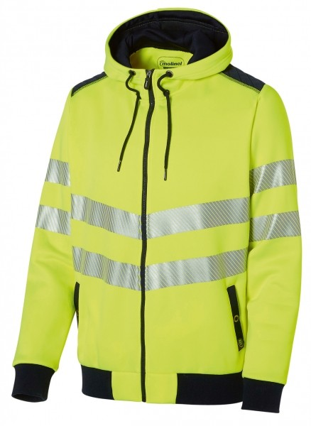 Photo 1 Look sportswear et sécurité optimale avec ce sweat à capuche haute visibilité normé EN2471. Les bandes segmentées apportent de la souplesse et de la liberté dans les mouvements. De plus ce sweat est très agréable au porté par son molleton gratté à l'intérieur. - Molinel