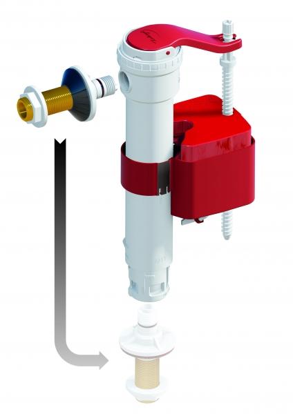 Photo 1 Le robinet Universel permettant une alimentation latérale ou par le fond. - Dubourgel