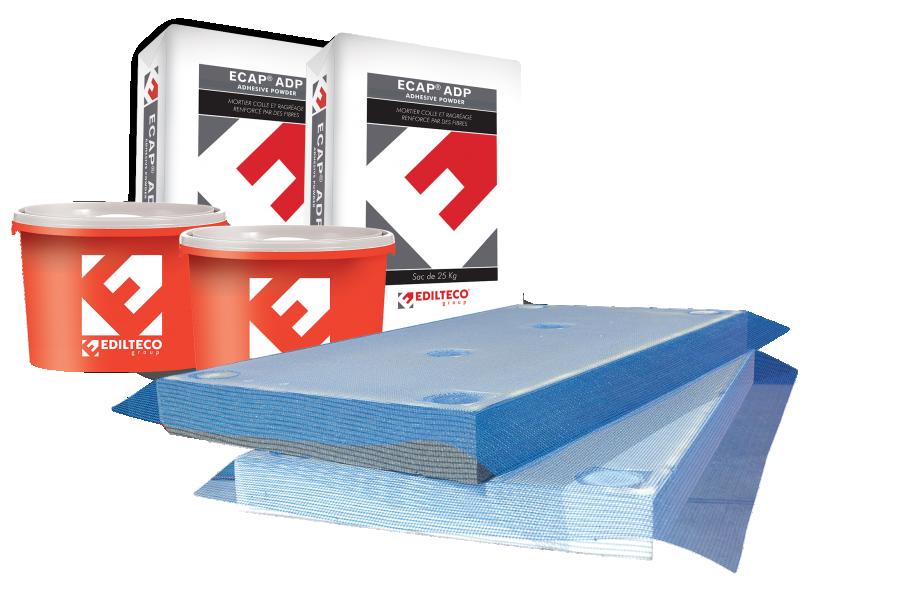 Photo 1 Le Système ECAP® est un procédé d'Isolation Thermique par l'Extérieur (ITE) avec des plaques en polystyrène semi-finies pour une mise en œuvre facile et simplifiée. La première passe de la couche de base, le marouflage de l'armature et l'emplacement des chevilles sont réalisés directement en usine. Les plaques ECAP® sont donc livrées avec une couche de sous-enduit, ce qui supprime les étapes du ragréage initial, de pose et marouflage de l'armature de fibres de verre lors du chantier. - EDILTECO FRANCE
