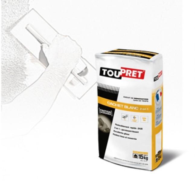 Photo 1 TOUPRET CACHET BLANC est un enduit de rénovation gain de temps en poudre, intérieur, pour application manuelle. TOUPRET CACHET BLANC s'applique sur supports neufs ou rénovés, bruts ou peints et est recouvrable par tous types d'enduits, peintures et revêtements muraux. TOUPRET CACHET BLANC permet un redoublement rapide de 2H30, une fonction 2 en 1 garnissant-Lissant permettant une finition lisse et resserrée. - Toupret