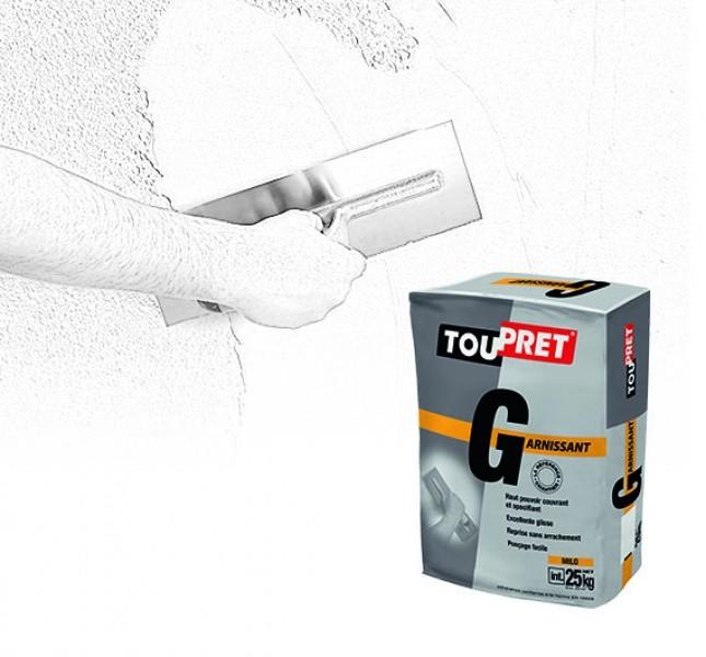 Photo 1 Toupret R est un enduit de rebouchage en poudre, intérieur, pour Toupret G est un enduit de rénovation en poudre, intérieur, pour application manuelle. Toupret G s'applique sur supports neufs ou rénovés, bruts ou peints et est recouvrable par tous types d'enduits, peintures et revêtements muraux. - Toupret