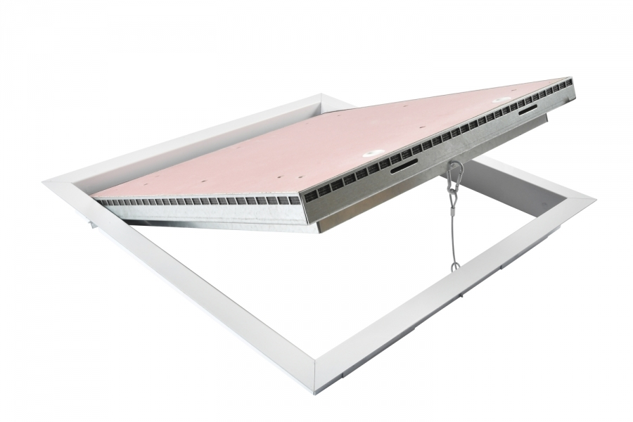 Photo 2 Trappe de visite coupe feu 30 min est constituée de : Un cadre en acier galvanisé 15/10ème prépeint blanc. Un panneau de porte rabattable et démontable en plaque de plâtre coupe feu. Une fermeture par batteuse à vis affleurante. Un câble de sécurité de retenue d'ouvrant.  Trappe coupe feu 30 min pour plafond - pose en applique. Permet l'accès aux divers réseaux en plafond pour construction sèche en plaque de plâtre NF à haute protection au feu ou en maçonnerie pleine. - PAI