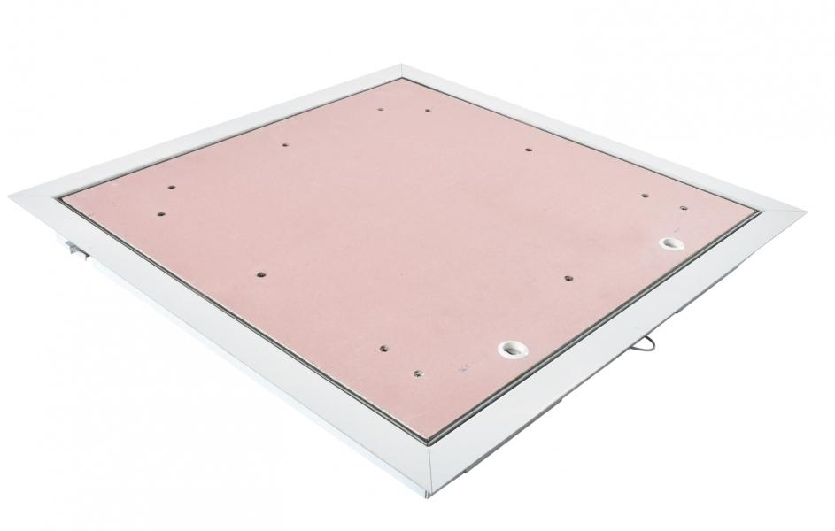 Photo 1 Trappe de visite coupe feu 30 min est constituée de : Un cadre en acier galvanisé 15/10ème prépeint blanc. Un panneau de porte rabattable et démontable en plaque de plâtre coupe feu. Une fermeture par batteuse à vis affleurante. Un câble de sécurité de retenue d'ouvrant.  Trappe coupe feu 30 min pour plafond - pose en applique. Permet l'accès aux divers réseaux en plafond pour construction sèche en plaque de plâtre NF à haute protection au feu ou en maçonnerie pleine. - PAI