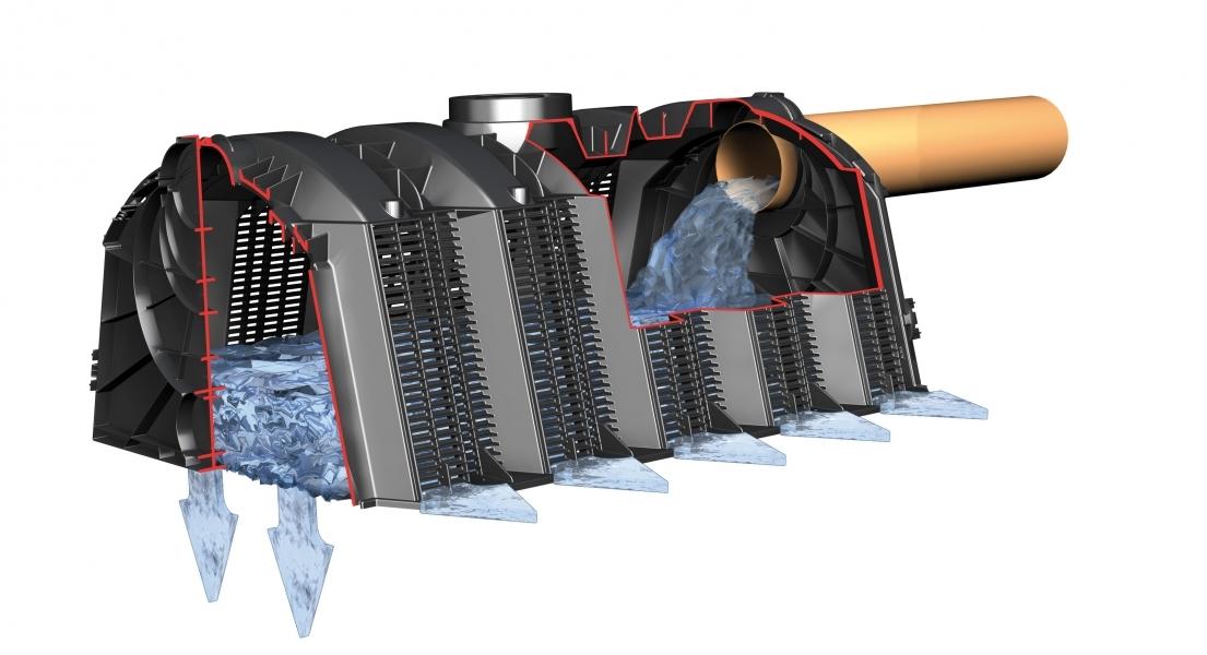 Photo 2 Solution idéale en sortie de trop-plein pour cuve à eau de pluie, en sortie directe des eaux pluviales après un système de filtration ou en sortie de système d'assainissement non collectif. Les tunnels s'installent les uns derrière les autres et permettent une installation quelle que soient les conditions de mise en oeuvre et le volume désiré. Mise en oeuvre simple, rapide et modulable : ne nécessite aucun équipement lourd (un tunnel ne pèse que 11 kg). Garantie 5 ans. - GRAF