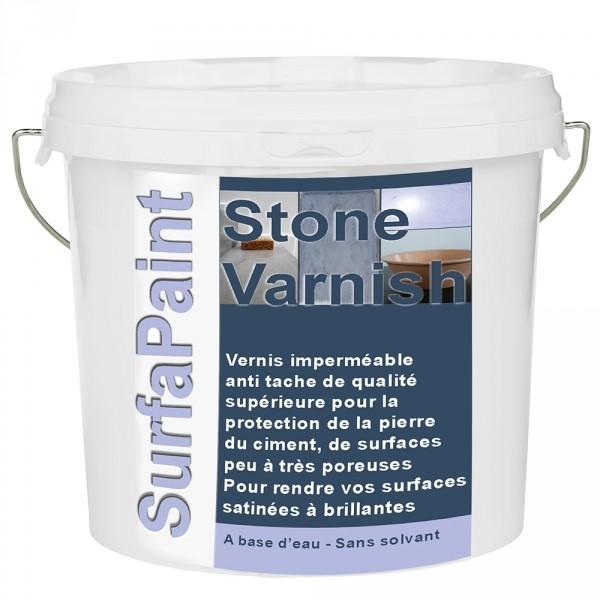 Photo 1 SurfaPaint Stone Varnish WB est un vernis filmogène de très haute qualité, à base d'eau, facile à appliquer, inodore, avec effet, et séchage protection rapide. Idéal pour décorer et protéger, rend la surface brillante à très brillante (glossy) en rajoutant des couches selon l'effet souhaité. Idéal pour sol, escalier, mur, meubles, objets en pierre, bois, en béton décoratif (ou ciré)... sur toute surface peu à très poreuse, structurée en intérieur comme en extérieur. Rendement: 8-10 m²/L - NanoSources