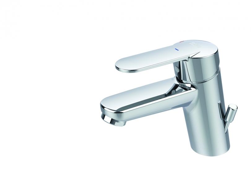 Photo 1 Robinetterie pour lavabo avec tirette latérale - Lavabo monotrou avec tirette latérale, livré avec vidage automatique hostalène et flexibles d'alimentation. - ROCA